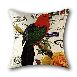 Almohadón Cuadrado Parrot Flores del Campo Y Los Pájaros Lino Impreso Home Almohada Linda Decoración Adecuado para Sofá Dormitorio Salón Automóvil De Color Cáscara Protectora,3