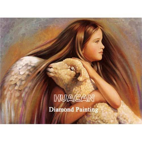CDNY Niño Retrato-DIY 5D Diamante Pintura Kits,-Cristal Redondo Rhinestone Imagen-para la Decoración de la Pared del Hogar40x50cm