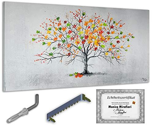 exclusive-gallery I Monica Mirafiori I 100% HANDGEMALT I Gemälde Bunter Baum 140x70cm | XXL Leinwandbild handgemalt | Acrylgemälde auf Leinwand | Sehr großes Acrylbild auf Keilrahmen
