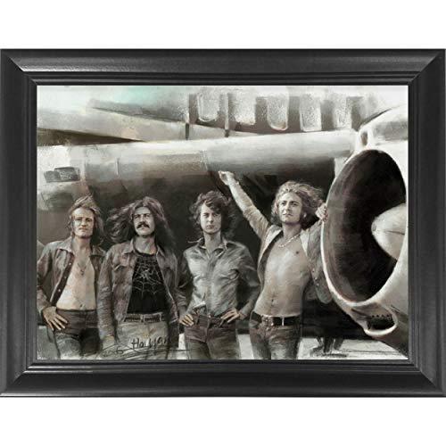 Led Zeppelin Classic Rock Band 3D Poster Wall Art Decor Framed Print   14.5x18.5   Lenticular Posters & Pictures   Memorabilia Gifts for Guys & Girls Bedroom   Jimmy Page, Robert Plant, John Bonham
