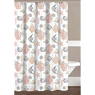 Hailey Collection Ocean Sea Life Fish Theme Canvas Fabric Shower Curtain: Coral, Gold, Taupe, Beige, Grey, White