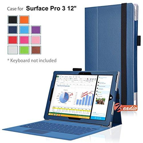 Zeadio Slim Custodia in Pelle PU Case Cover con Supporto per Microsoft Surface PRO 3 (3rd Generation) Windows 8.1 (12 inch) Tablet - Blu