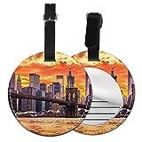 Etiquetas para Equipaje Bolso ID Tag Viaje Bolso De La Maleta Identifier Las Etiquetas Maletas Viaje Luggage ID Tag para Maletas Equipaje Hermosa Puesta de Sol de Nueva York