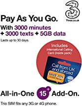 Three UK All-in-One 15+ PAYG Trio SIM Card -3000 Minutes, 3000 Texts + 5GB Data + International Calling Card - (Love2surf Retail Pack)