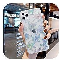 Dhfsy iPhone 12 11 Pro MAX 7 8 Plus X XR XS MAX SE2020保護ケース用の高級ファッション電気メッキ金箔花透明ソフト電話ケース-Style 2-For iphone XR
