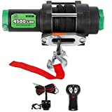 OFF ROAD BOAR 4500LB.Load Capacity Electric Winch Kit for ATV/UTV, 12V IP67 Waterproof Powersports Winch with Hawse Fairlead, Wireless Handheld Remote and Wired Handle(Synthetic Rope)