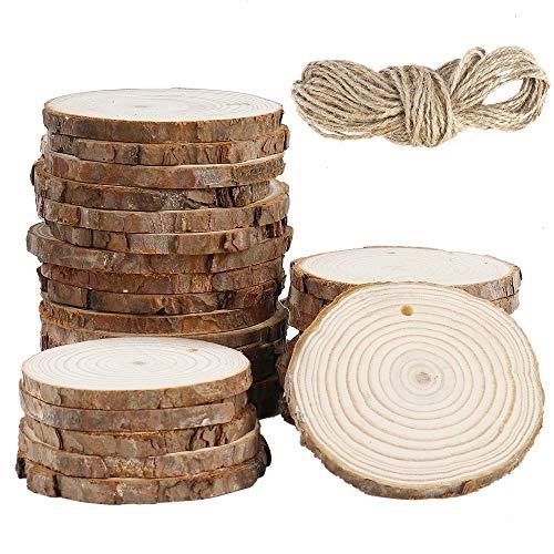 Rodajas de Madera, Natural Circulos de Madera 30pcs Discos de Madera Rústicos Rebanada Con Agujero y Cuerda de Cáñamo, para Bricolaje Manualidades Posavasos(6-7cm)