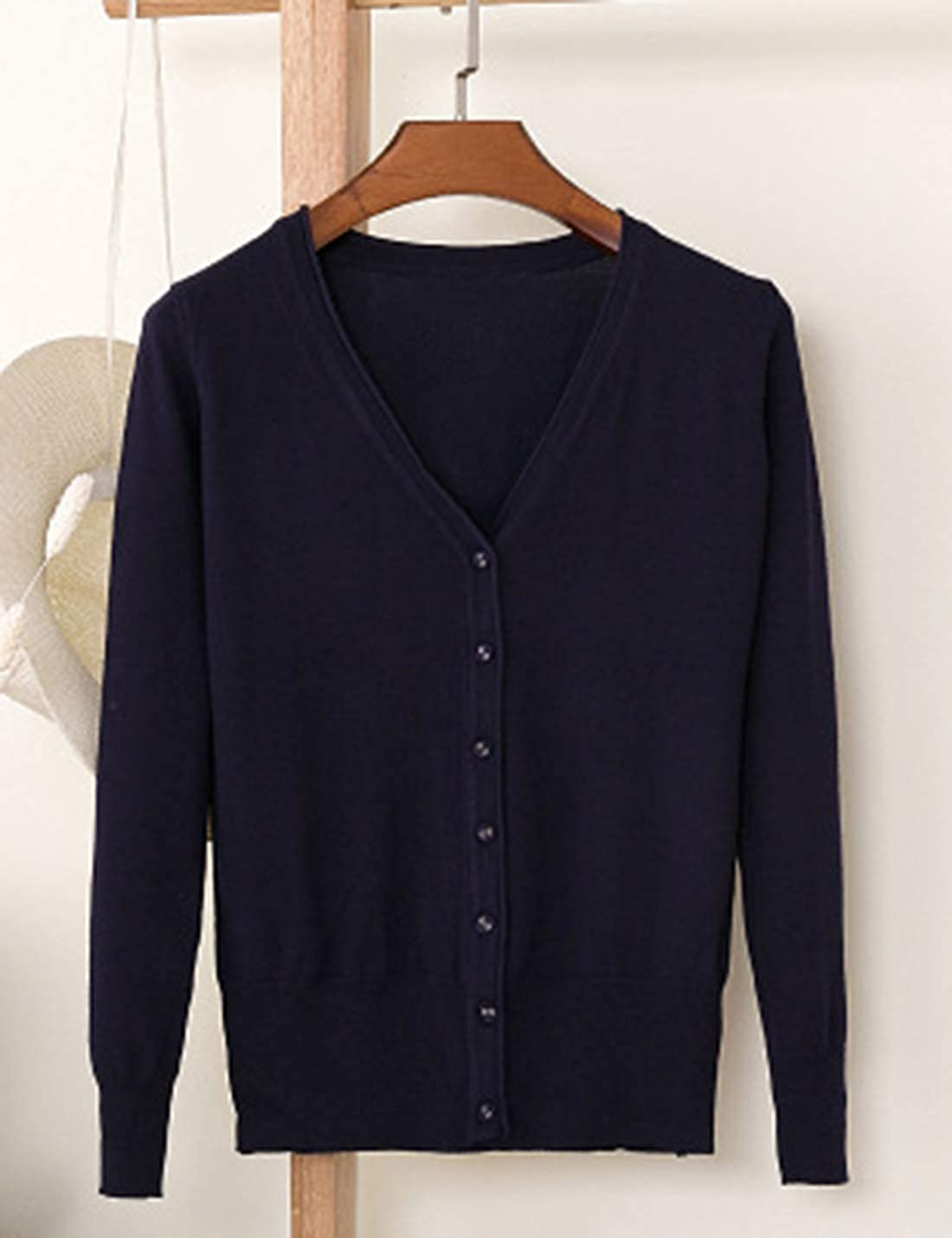 SeekMe Women's Long Sleeve V Neck Solid Color Lightweight Button Down Cardigan Sweaterr