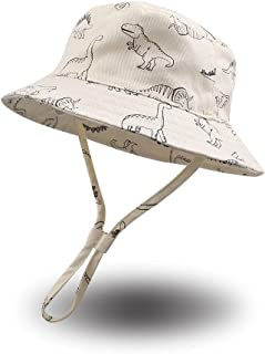 Dinosaur Baby Boys Sun Hat Cotton Toddler Boys Girls Bucket Hats Breathable Summer Sun Protect Cap for Kids 0-2Y