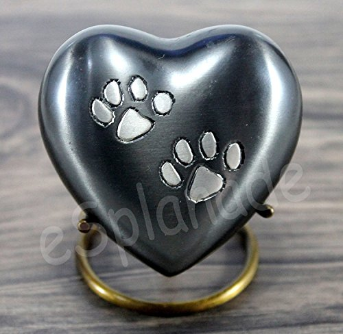 eSplanade Pet Cremation Urn Memorials urn Container Jar Pot | Brass Urn | Metal Urn | Burial Urn | Memorials Keepsake | Pet Dog Cat urn (Grau mit Ständer)