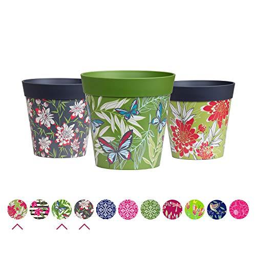 Hum Flowerpots Plant Pots, set of 3 multi coloured, colourful planters indoor/outdoor plastic pots 15cm x 15cm (14 designs available)