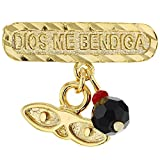 In Season Jewelry - Broche chapado en oro de 14 quilates, diseño de azabache de Santa Lucía con protección contra el mal de ojo