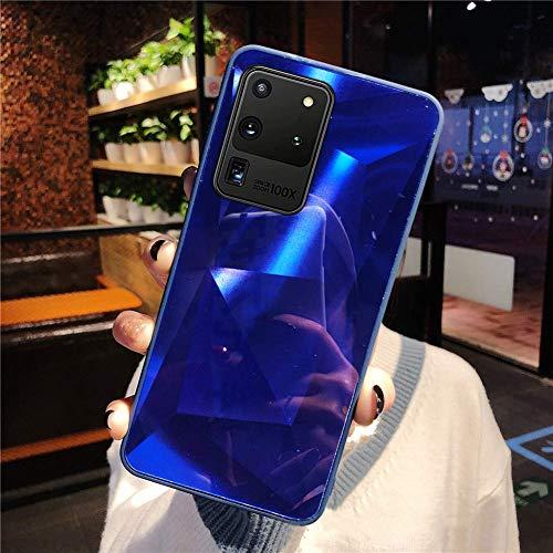 Uposao Kompatibel mit Samsung Galaxy S20 Ultra Hülle Spiegel Handyhülle Glänzend Glitzer Strass TPU Silikon Hülle Schutzhülle Überzug Mirror Case Stoßfest Cover Dünne klare weiche TPU Hülle,Blau