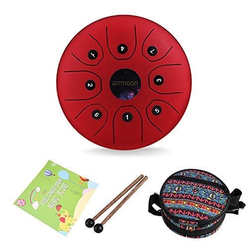 Steel Tongue Drum,ammoon 5,5-Zoll-Schlaginstrument, rote tragbare Zungenschlagtrommel mit 8 Noten, mit Trommelstöcken und Holzkoffer für Meditation, Yoga, Musiktherapie, Camping