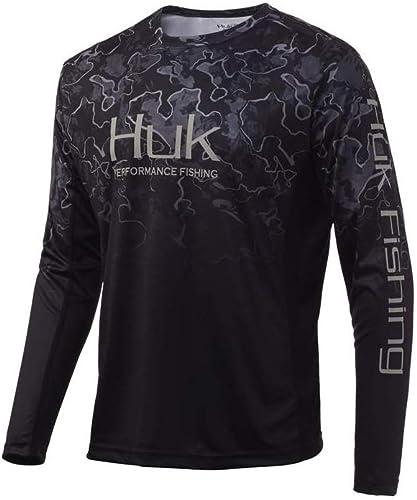 HUK Icon X Camo Fade Shirt | Playera de Manga Larga de Pesca con protección Solar +50 UPF De Manga Larga para Hombre