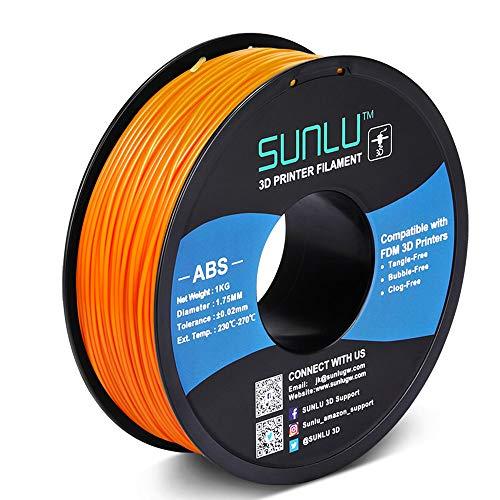 SUNLU ABS Filament 1.75mm for FDM 3D Printer, 1KG(2.2LBS) ABS 3D Filament Accuracy + - 0.02 mm, Orange