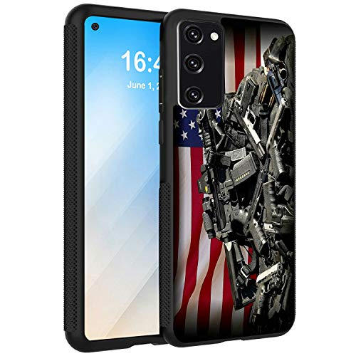 Compatible with Galaxy S20 FE 5G Case,S20 Fan Edition Case,AIRWEE Shock-Absorption Soft Silicone TPU Back Protective Case Cover for Samsung Galaxy S20 Fe 2020,Guns and US Flag