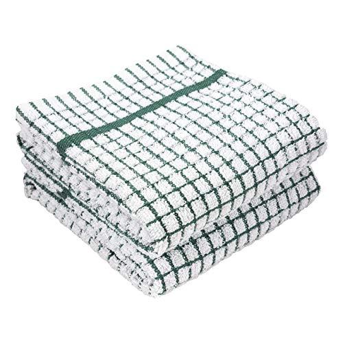 LaPrima Shops Set of 2 Terry Kitchen Towels, 20 x 30-inch 100-Percent Cotton (Green)