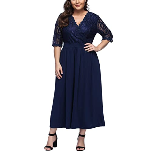 fcf02a39644 FeelinGirl Women s Plus Size Evening Dresses V Neck Half Sleeves High Waist  A Line Party Dress