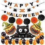 XIAOTING Partido decoración de Halloween Set, Feliz Halloween Cartas de la Bandera con la Flor de Papel Bola, Palo, Cabeza de la Calabaza, Globo Perla