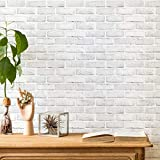 ODS Brick Wallpaper Peel and Stick Self-Adhesive Wallpaper White Gray Brick Backsplash 17.71'x 118.11' Removable Faux Brick Wall Panel Door Stickers Stick on Wallpaper for Bathroom
