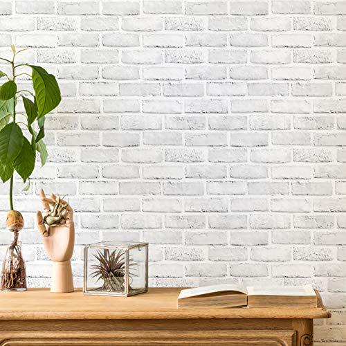 ODS Selbstklebende Vinyl-Tapete, Kleisterrolle, wasserfest, für Badezimmer, Schlafzimmer, Küche, Dekoration, 45 x 600 cm, Weiß / Grau