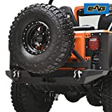 EAG Rock Crawler Rear Bumper with Secure Lock Tire Carrier Fit for 76-86 Wrangler CJ
