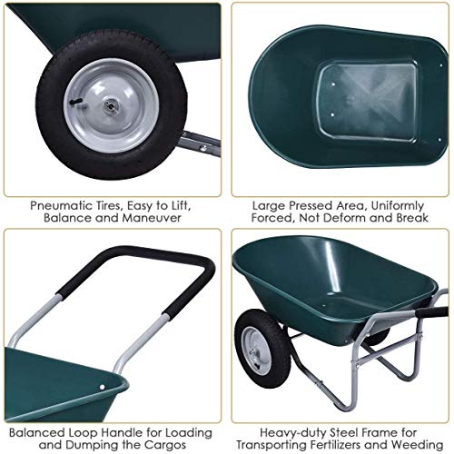 HAPPYGRILL Wheelbarrow Dump Cart Dual Wheel Garden Cart 330 lbs Capacity Utility Cart Dolly for Patio Lawn Yard