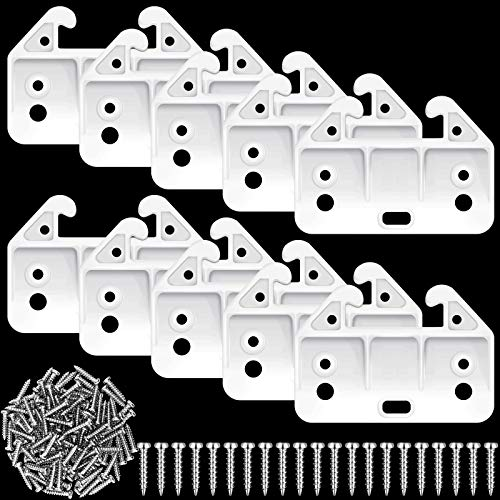 20 Pieces Drawer Track Guides Plastic Drawer Guides Drawer Slides Replacement Furniture Parts with Screws for Dressers, Hutches, Night Stand Drawer Systems White