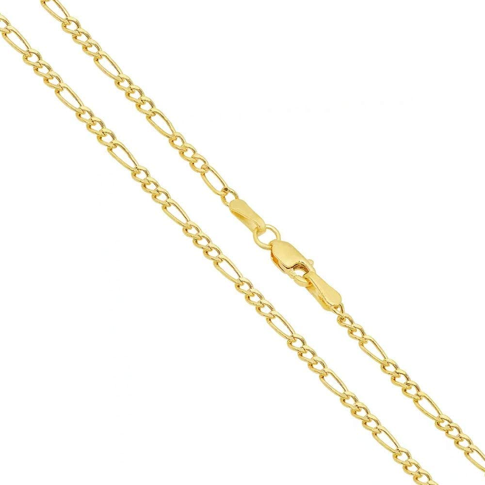 14K Gold 2MM Italian Figaro Link Chain Necklace- 14K Necklaces, 14K Figaro Chain Necklace,Women Girls Men Boys Necklace14K Gold 16