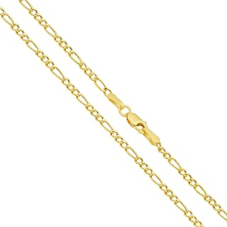 "Verona Jewelers 14K Gold 2MM Italian Figaro Link Chain Necklace- 14K Necklaces, 14K Figaro Chain Necklace,Women Girls Men Boys Necklace14K Gold 16"" 18"" 20"" 22"" 24 30"""