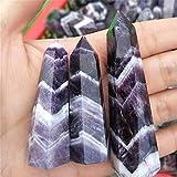 YANGB Piedra de Chakra Natural Fantasía Amatista Cristal Colorido Fluorito de Rayas Cuarzo Cuarzo Punto de Piedra Curación Hexagonal Varita Tratamiento Piedra (Color : 6-7cm)