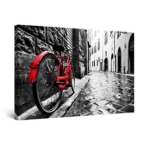 Startonight Quadro su Tela Bianco e Nero Bicicletta Rossa, Stampe Incorniciato e Pronta da Appendere Design Moderno Arredamento Arte Fotografia Grande Formato 80 x 120 CM