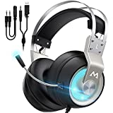 Mpow Gaming Headset for PS4 PC Xbox One PS5 Controller, Noise Cancelling Over Ear Headphones with Mic, LED Light, Bass Surround, Soft Memory Earmuffs for Laptop Mac Nintendo NES Games(EG3 Pro)