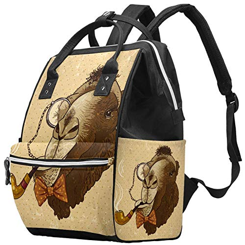 Sac à langer Mummy Vintage Hipster Animal Camel avec Pipe Multifonction Imperméable Sac à dos de Voyage pour Soins de Bébé