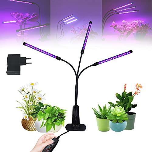 UISEBRT 30W 54 LEDs Pflanzenlampe Pflanzenleuchte Vollspektrum mit Timer - Grow lampe Wachstumslampe 360°Einstellbar, 3 Arten von Modus, 8 Arten von Helligkeit, für Zimmerpflanzen Blumen (30W)