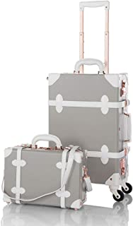 Pu Spinner Suitcase Grey 2 Piece Vintage Trunk Luggage Set (12