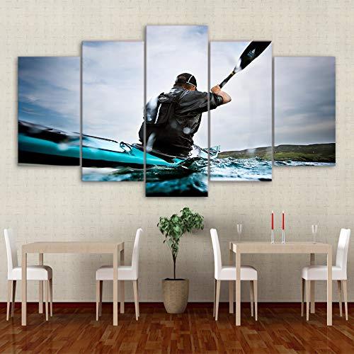 Zaosan Dekorative Malerei Wandkunst 5 Stück/Stück Marine Ruderboot Moderne Leinwand Wohnzimmer HD Familie mit Rahmen