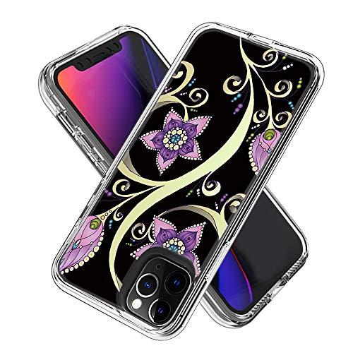 Miagon 2 in 1 Hart PC und Weich TPU Innere Durchsichtig Klar Hülle für iPhone 11 Pro Max,Bunt Muster Anti Gelb Stoßfest Handyhülle Schutzhülle Bumper Case,Lila Blume