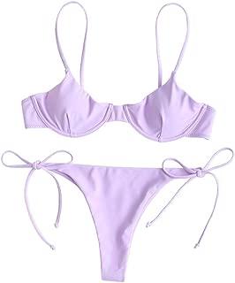ZAFUL Women's Underwire Push Up Balconette Tie Side String Bikini Set Swimsuit