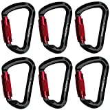 CARAPEAK 30kN Auto-Locking D Shaped Twist Lock 6 Pack Set Carabiner, Aluminum Self Locking Clip Black