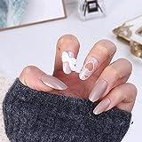 Uñas falsas 24 piezas de diseño de uñas postizas de mariposa con decoración, acabado de uñas, uñas acrílicas, cabeza ovalada, productos de tamaño medio, arte de uñas