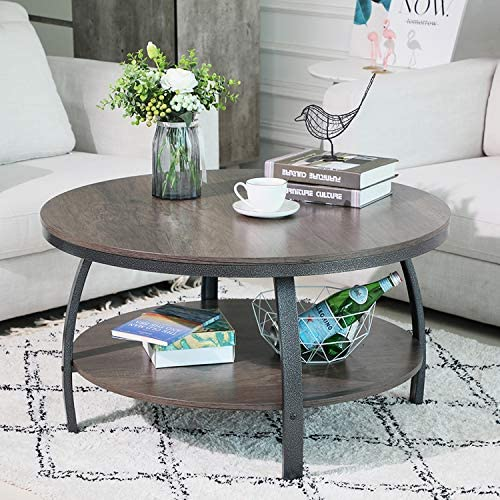 Best GreenForest Round Coffee Table 35.4 inch Large Size Industrial Style Sofa Table Cocktail Table Metal