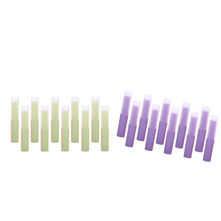 横にどんなときもマンモスPerfeclan リップバームチューブ(グリーン+パープル) 繰り出し 手作りコスメ 手作りリップクリーム