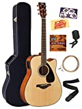 Yamaha FGX800C Solid Top Folk Acoustic-Electric Guitar - Natural Bundle with Hard Case, Tuner, Strings, Strap, Picks, Austin Bazaar...
