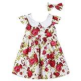 OVERMAL Kleinkind Kinder Mädchen Prinzessin Kleid Stirnband Rüsche Party Blumenkleid Kleider Set...