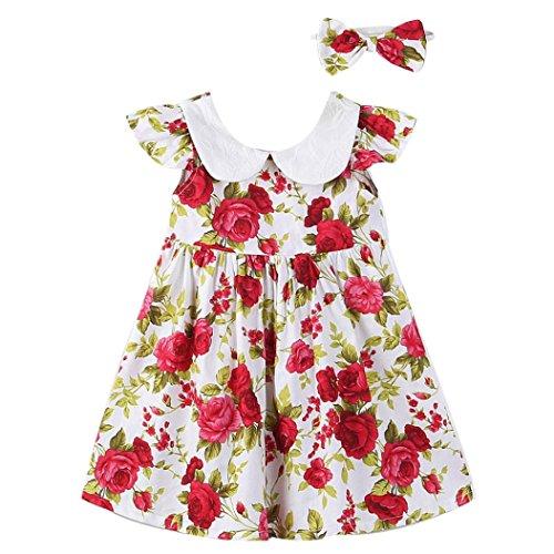 OVERMAL Kleinkind Kinder Mädchen Prinzessin Kleid Stirnband Rüsche Party Blumenkleid Kleider Set (3-4Jahre, Mehrfarbig)