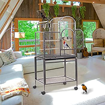 IKAYAA Cage pour perroquet avec 4 roulettes 59,7 x 42,2 x 153,3 cm