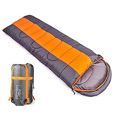 Sleeping bag, packable backpacking sleeping bags with ultralight lightweight, 2 bags spliced as a big double sleeping bag for outdoor travel, hiking, camping in all seasons (orange color right zipper)