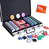 Homwom Casino Poker Chip Set - 300PCS Poker Chips with Aluminum Case, 11.5 Gram Chips for Texas Holdem Blackjack Gambling